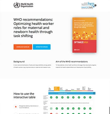 Optimizing health worker roles for maternal and newborn health